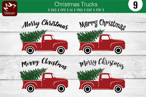 Christmas Truck with Pine Tree Graphic Illustrations By Gleenart Graphic Design