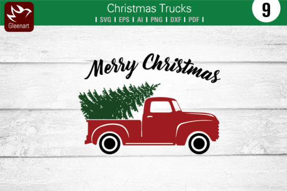 Download Free Christmas Truck With Pine Tree Graphic By Gleenart Graphic SVG Cut Files