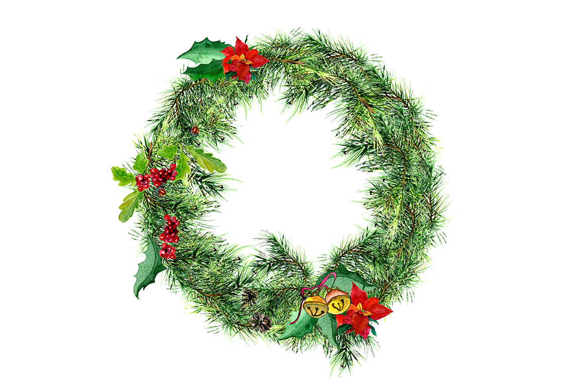 Download Free Watercolor Christmas Wreath Graphic By Kakva Creative Fabrica for Cricut Explore, Silhouette and other cutting machines.
