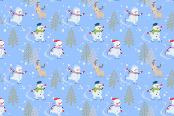 Snowman on Skate Pattern Graphic Patterns By ranger262 - Image 1