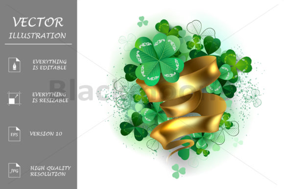 Clover with Gold Ribbon Graphic Illustrations By Blackmoon9