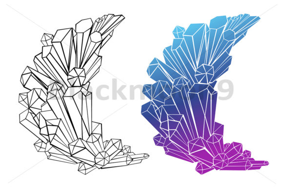 Download Free Contour Crescent Of Crystals Graphic By Blackmoon9 Creative for Cricut Explore, Silhouette and other cutting machines.