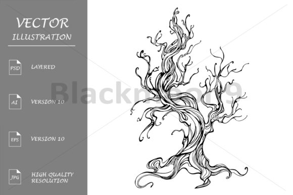 Download Free Contour Of The Old Tree Graphic By Blackmoon9 Creative Fabrica for Cricut Explore, Silhouette and other cutting machines.