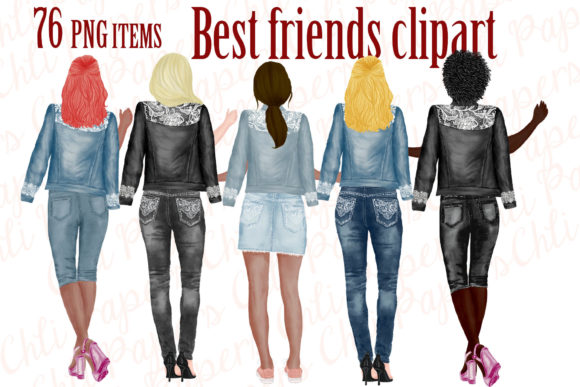 Best Friends Clipart,Jeans and Legs Graphic Illustrations By ChiliPapers - Image 1