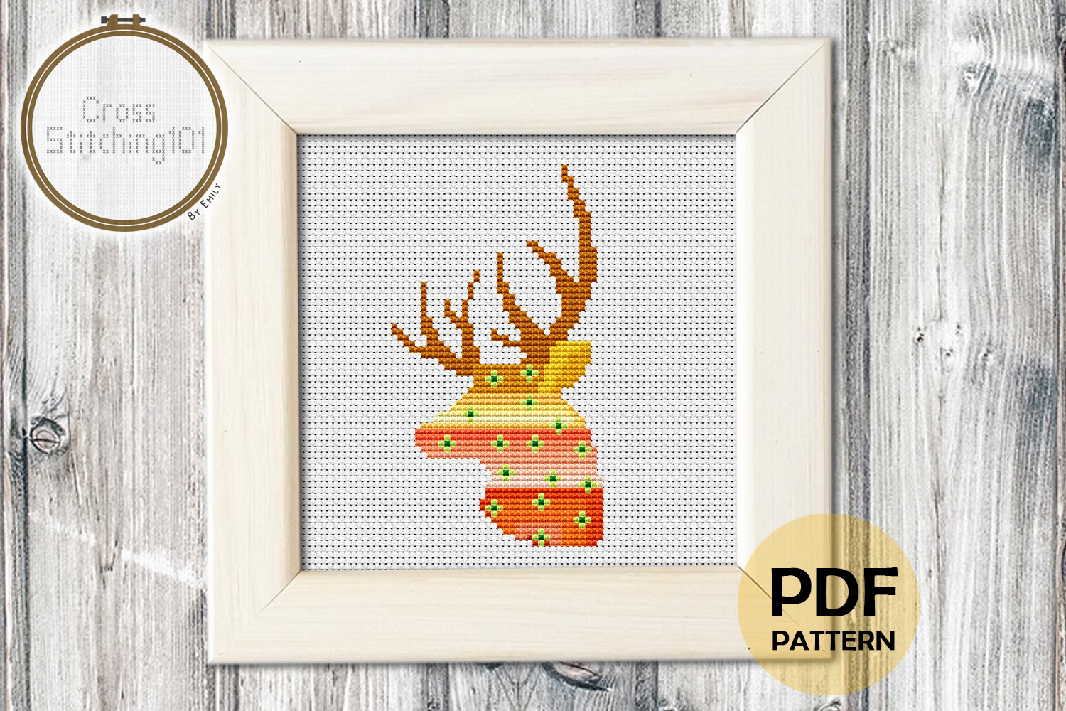 Download Free Deer Head Pattern Modern Cross Stitch Graphic By for Cricut Explore, Silhouette and other cutting machines.