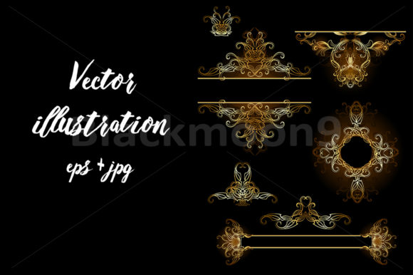 Design Elements in Gold Graphic Illustrations By Blackmoon9