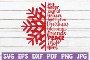 Christmas Snowflake Joy Merry Joyful Believe Christmas Blessings Friends Peace Snow Noel Graphic By MintyMarshmallows