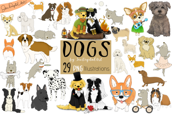 DOGS - BIG GRAPHICS SET | 29 PNG Images Gráfico Por Jen Digital Art