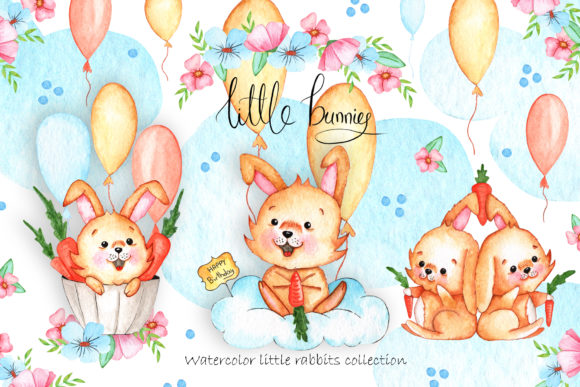 Print on Demand: Watercolor Little Bunnies Illustrations Graphic Illustrations By tanatadesign - Image 1