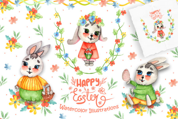 Print on Demand: Watercolor Easter Bunnies Illustrations Graphic Illustrations By tanatadesign - Image 1