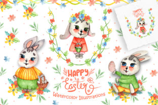 Watercolor Easter Bunnies Illustrations Graphic By tanatadesign
