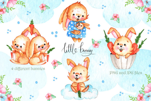 Print on Demand: Watercolor Little Bunnies Illustrations Graphic Illustrations By tanatadesign - Image 2