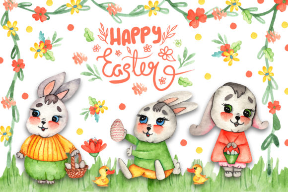 Print on Demand: Watercolor Easter Bunnies Illustrations Graphic Illustrations By tanatadesign - Image 2
