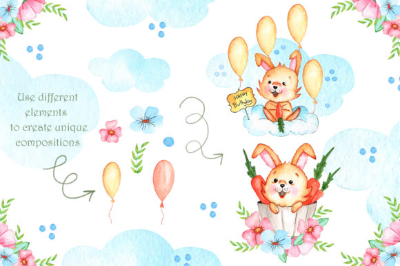 Print on Demand: Watercolor Little Bunnies Illustrations Graphic Illustrations By tanatadesign - Image 3