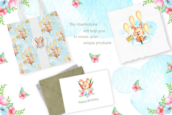 Print on Demand: Watercolor Little Bunnies Illustrations Graphic Illustrations By tanatadesign - Image 5