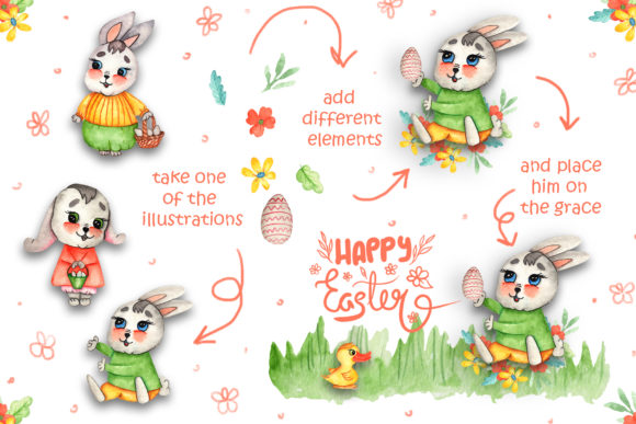 Print on Demand: Watercolor Easter Bunnies Illustrations Graphic Illustrations By tanatadesign - Image 5