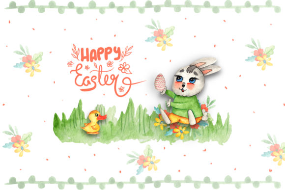 Print on Demand: Watercolor Easter Bunnies Illustrations Graphic Illustrations By tanatadesign - Image 7