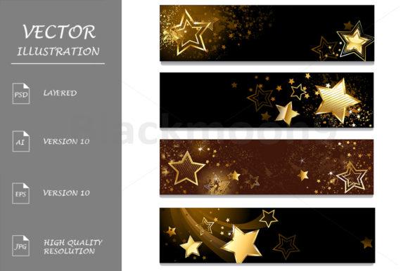 Four Banners with Stars Graphic Graphic Templates By Blackmoon9