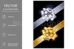 Gold and Silver Bows Graphic Illustrations By Blackmoon9