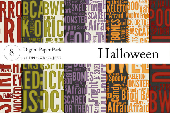 Halloween Wordart Papers Graphic By Becky's Creations