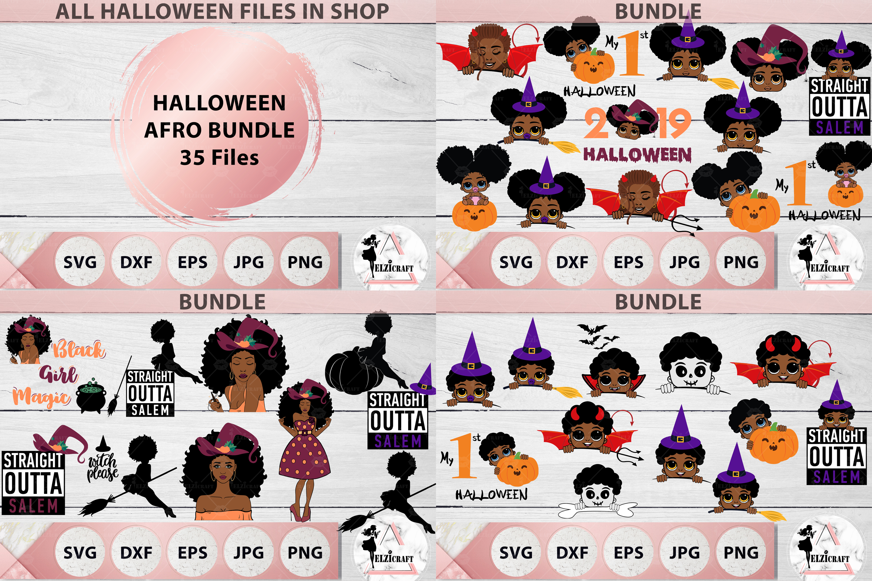 Afro Halloween Bundle Svg Cut Files Graphic By Elzicraft