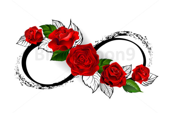 Infinity Symbol with Red Roses Graphic Illustrations By Blackmoon9 - Image 1