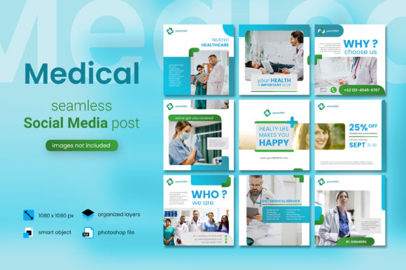 Print on Demand: Medical Social Media Post - Blue Color Graphic Websites By diqtam