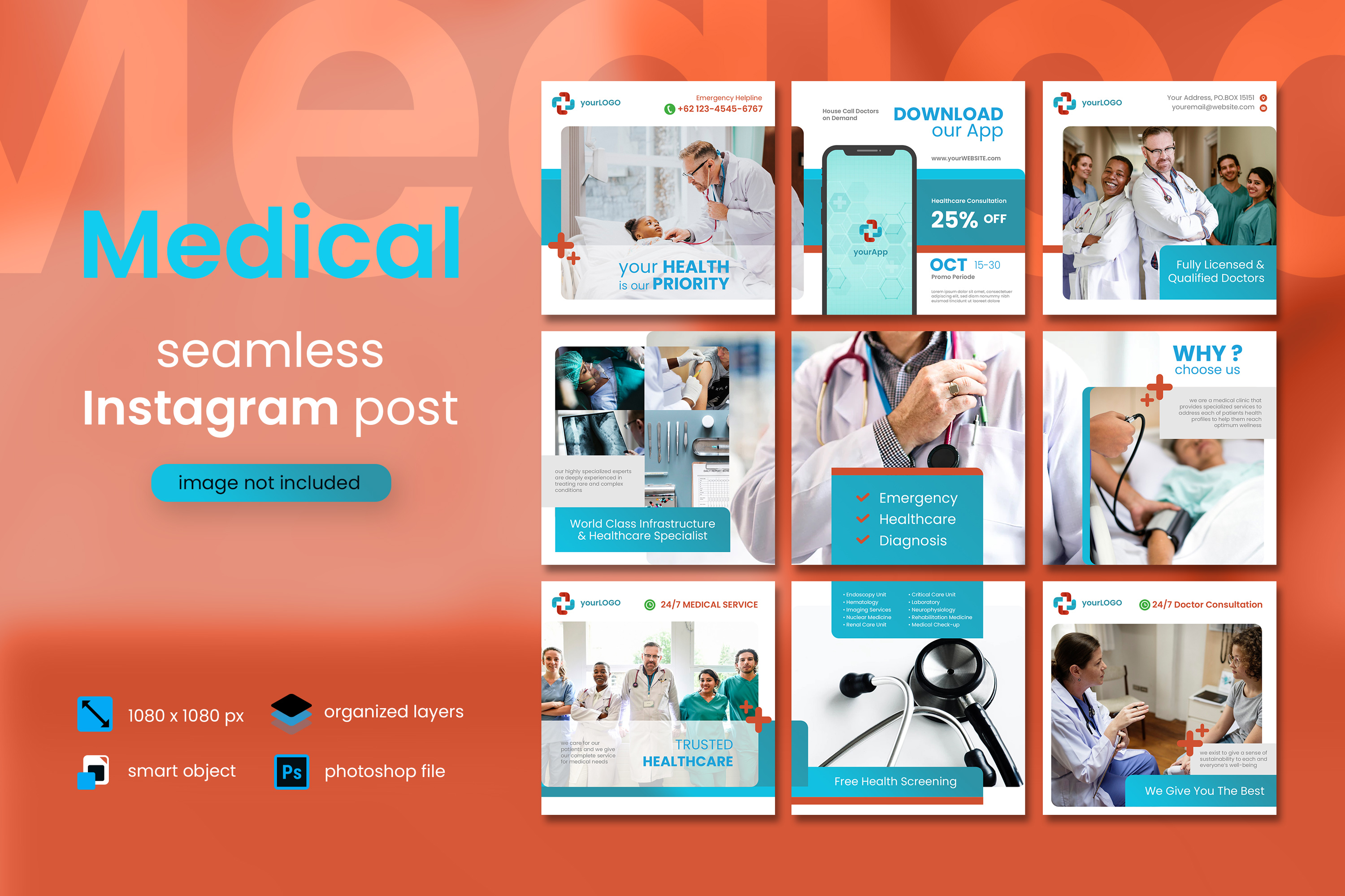 Download Free Medical Social Media Post Red Color Graphic By Diqtam for Cricut Explore, Silhouette and other cutting machines.