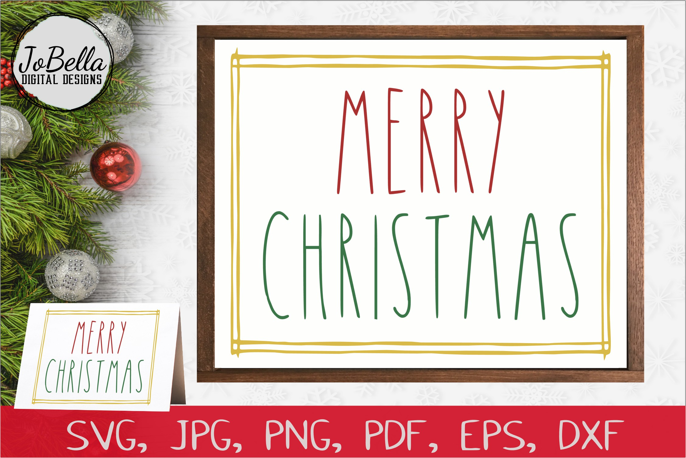 Download Free Rustic Border Merry Christmas Graphic By Jobella Digital Designs for Cricut Explore, Silhouette and other cutting machines.