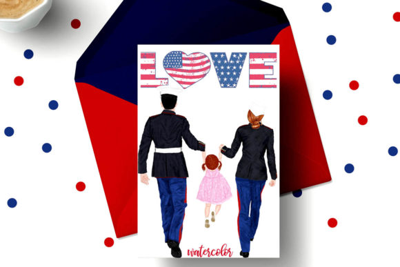 Army Family Clipart Military Couples Graphic Illustrations By LeCoqDesign - Image 4