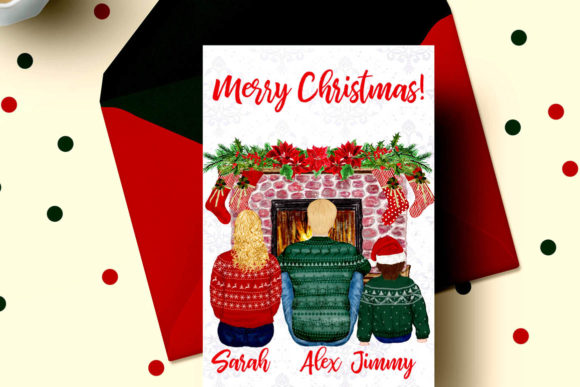 Christmas Family Clipart Fireplace Graphic Illustrations By LeCoqDesign - Image 7
