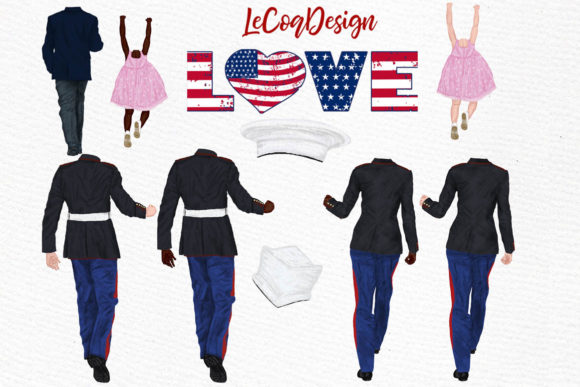 Army Family Clipart Military Couples Graphic Illustrations By LeCoqDesign - Image 2
