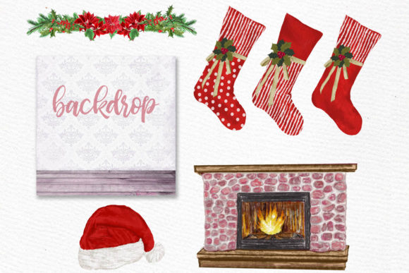 Christmas Family Clipart Fireplace Graphic Illustrations By LeCoqDesign - Image 4