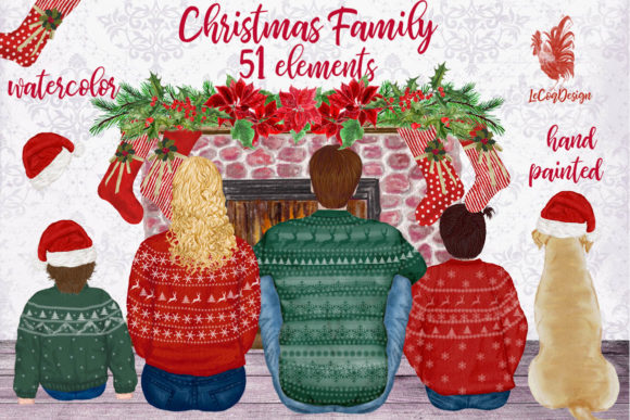 Christmas Family Clipart Fireplace Graphic Illustrations By LeCoqDesign - Image 1