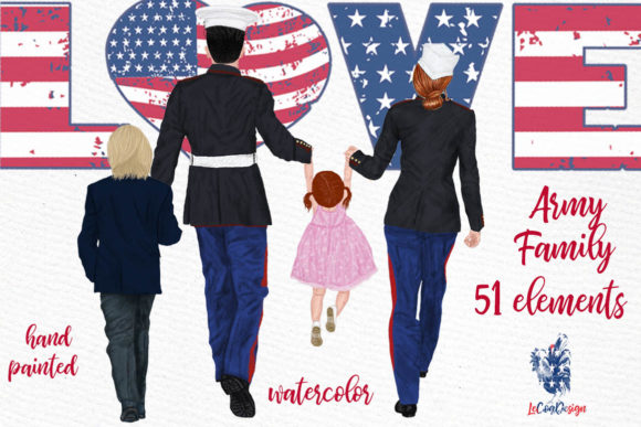 Army Family Clipart Military Couples Graphic Illustrations By LeCoqDesign - Image 1