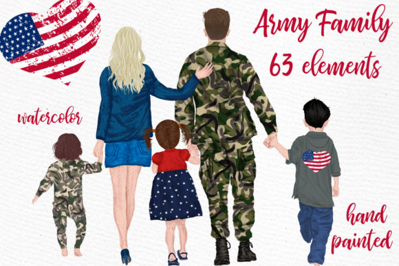 Army Family  Solider Man in Uniform Graphic Illustrations By LeCoqDesign