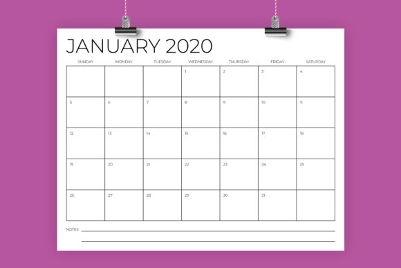 8.5 X 11 Inch Minimal 2020 Calendar Graphic By Running With Foxes Image 1