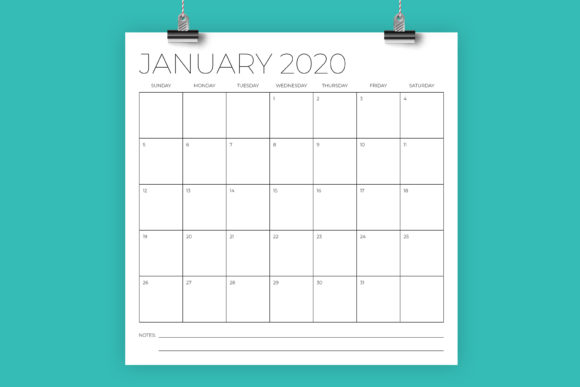 Print on Demand: 12 X 12 Inch Minimal 2020 Calendar Graphic Print Templates By Running With Foxes