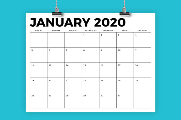 8.5 X 11 Inch Bold 2020 Calendar Graphic By Running With Foxes