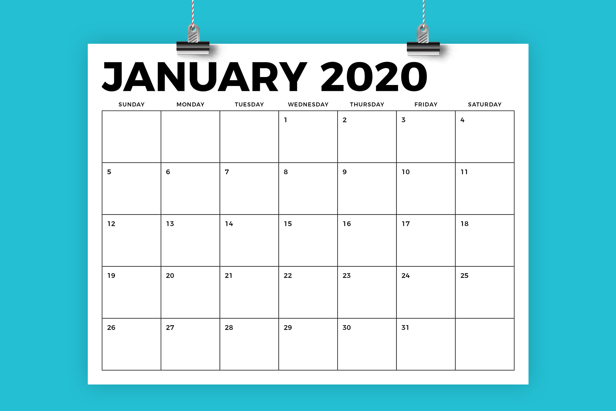 Download Free 8 5 X 11 Inch Bold 2020 Calendar Graphic By Running With Foxes for Cricut Explore, Silhouette and other cutting machines.