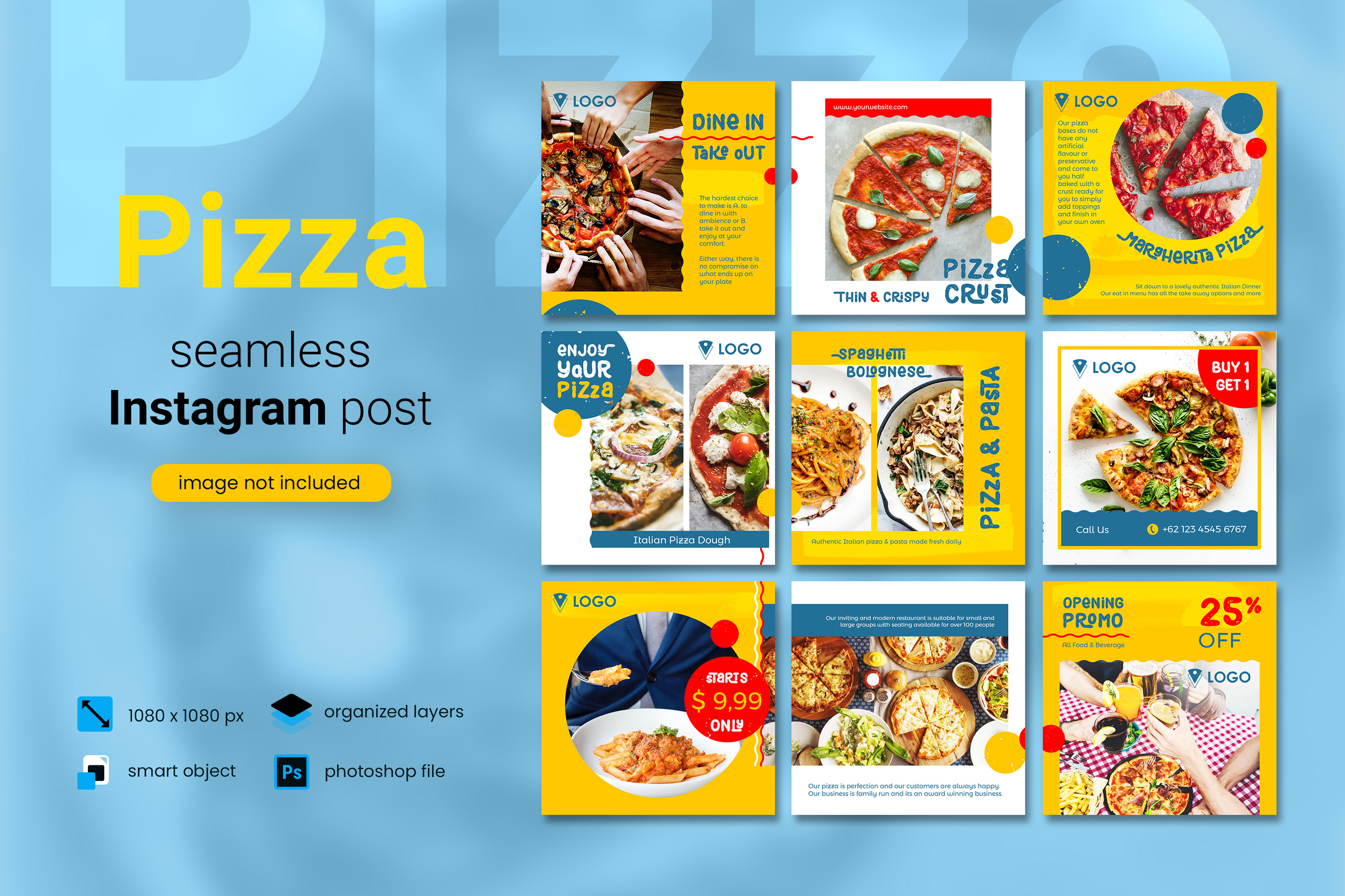 Download Free Pizza Social Media Post Yellow Color Graphic By Diqtam for Cricut Explore, Silhouette and other cutting machines.