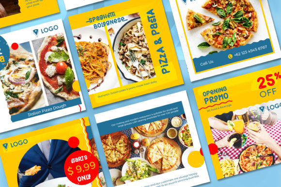 Print on Demand: Pizza Social Media Post - Yellow Color Graphic Websites By diqtam - Image 2