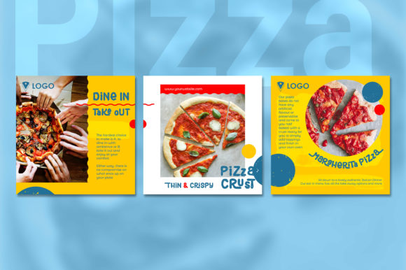 Print on Demand: Pizza Social Media Post - Yellow Color Graphic Websites By diqtam - Image 5