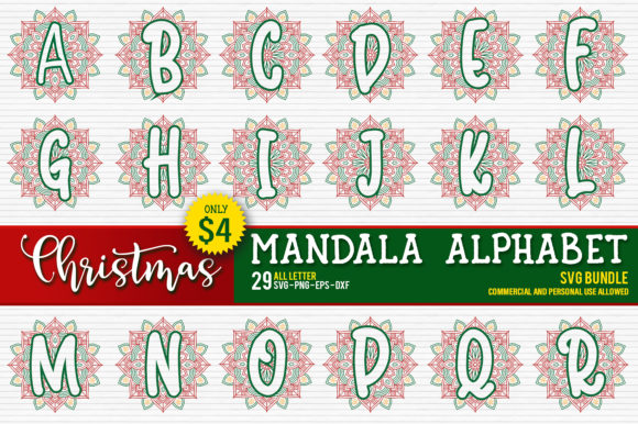 Download Free Christmas Mandala Monogram Alphabet Graphic By Orindesign for Cricut Explore, Silhouette and other cutting machines.