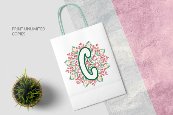 Print on Demand: Christmas Mandala Monogram Alphabet Graphic Crafts By OrinDesign - Image 3