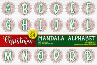 Christmas Mandala Monogram Alphabet Graphic By OrinDesign