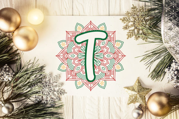 Print on Demand: Christmas Mandala Monogram Alphabet Graphic Crafts By OrinDesign - Image 6