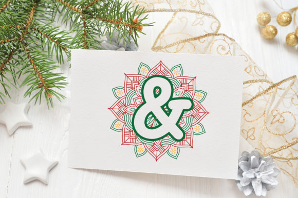 Print on Demand: Christmas Mandala Monogram Alphabet Graphic Crafts By OrinDesign - Image 7