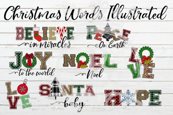 Christmas Words Ilustrated Graphic Illustrations By BellaUniquePrintique - Image 1