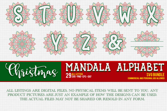 Print on Demand: Christmas Mandala Monogram Alphabet Graphic Crafts By OrinDesign - Image 2